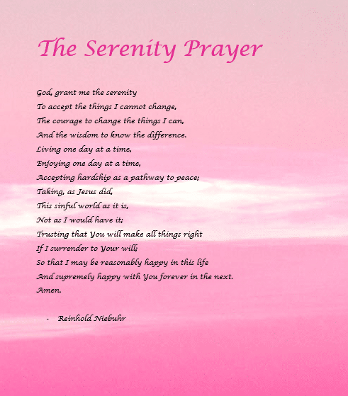 Celebrate Recovery Serenity Prayer